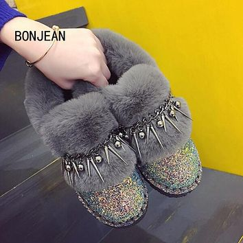 Women Ankle Boots Winter Warm Shoes Leather Boots Rivets Bling Indoor Home Shoes Women Plush Boots Zapatos Mujer Sapato Feminino