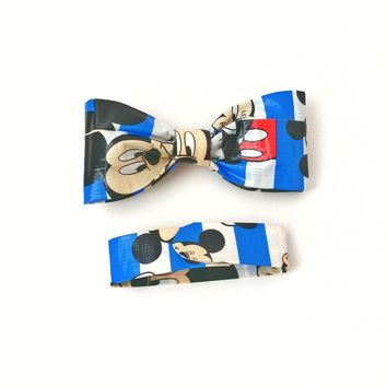 Boy's Blue Clip On Bow Tie, Mickey Mouse Boys Gift Set, Cool Kid's Bowties