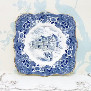 Tuscan Blue and White Cake or Serving Plate, Square, Wall Plaque or Plate, Fine Bone China, Made in England, Collectors Plate