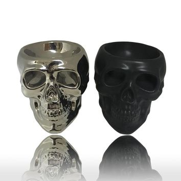 Ceramic Skeleton Skull Silver/black Home Candle Holder Ornaments Creative Gift