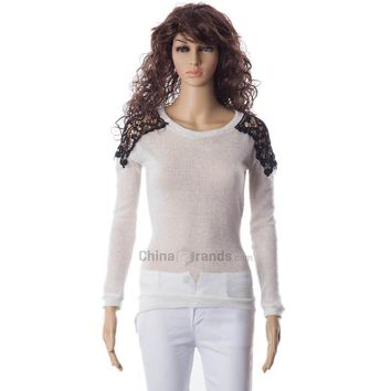 Long Sleeves Scoop Neck Lace Embroidered Stitching Long Sections Asymmetrical Hem Loose-Fitting Casual Women's Sweater