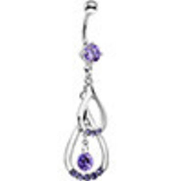 Tanzanite Cubic Zirconia Double Drop Belly Ring