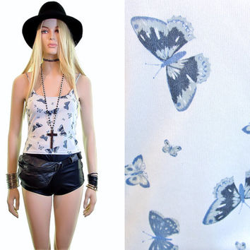 butterfly tank top|90s top|rave top|crop top|blue cropped top|90s grunge|90s tank top|grunge clothing|club kid top|cyber|baby blue tank top