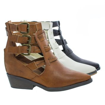 Pamee01 Caged Multi Buckle Faux Wooden Heel Western Ankle Boots
