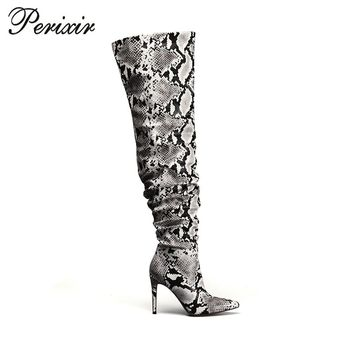 Perixir Slouch Thigh High Boot Snake Skin Over the Knee Boots Sexy Super High Thin Heel Pleated Pointed Toe Botte Femme Talon