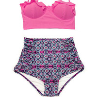 Pink Top and Flora Floral Graphic Print Printed Ruched Ruch High Waisted Waist Shorts Bottom Swimsuit Bikini set Swimwear Bathing suit S M