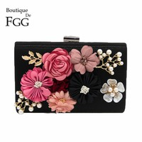 Flower and Beaded Patchwork Women Black Evening Clutches Bag Metal Party Prom Wedding Handbag Purse Bridal Box Clutch Hand Bag