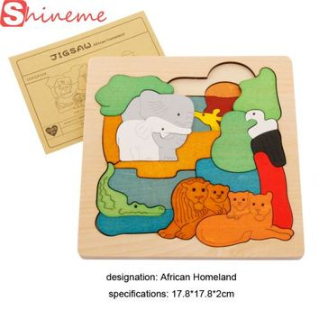Funny wooden 3D Puzzle early children educational toys multilayer cartoon animal puzzle  for baby girls boys gift on piece