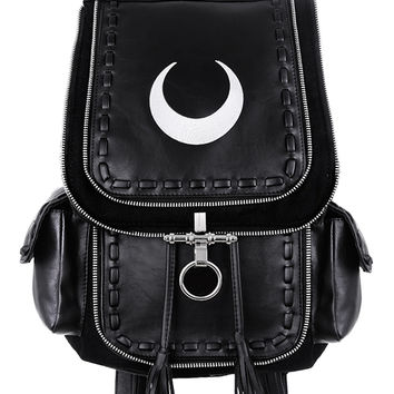 Restyle Gothic Witch Crescent White Moon Embroidered Black Denim Backpack