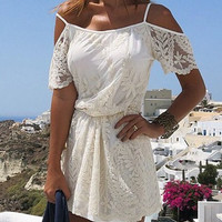 White Spaghetti Strap Lace Dress