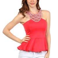 Sequin Fit and Flare Top - Coral