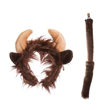 Wildlife Tree Plush Buffalo Ears Headband and Tail Set for Buffalo Costume, Cosplay or Forest Animal Costumes