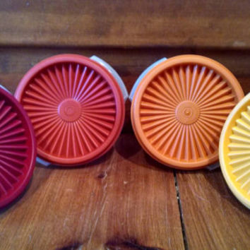 Vintage Four Piece Tupperware Set, Red Orange and Yellow Hues, 10 ounce containers