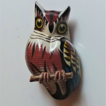 Vintage Owl Brooch 1970s Reproduction Takahashi Bird Pin