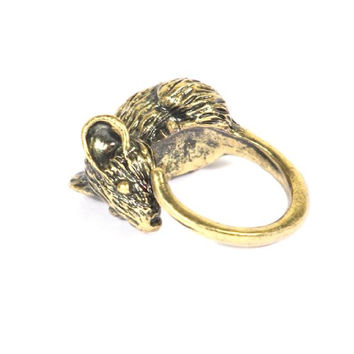 Large Rat Ring Size 6 Mouse Statement Mice Victorian Steampunk RB26 Rodent Gold Tone