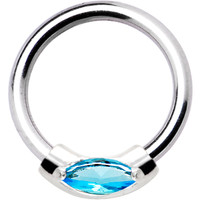 Silver 925 Aqua Austrian Crystal Closure Ring | Body Candy Body Jewelry