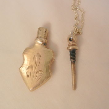 Vintage Brass Etched perfume Bottle Necklace