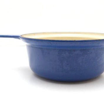 Vintage Cousances 18 Pot, Cobalt Blue, 1 Quart, Enameled Cast Iron Sauce Pot, Made in France
