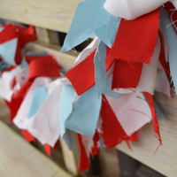 Valentines Decor Scrappy Fabric banner red/white and turquoise over 5 feet long mantle decor