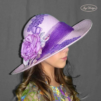AVA Spring Lilac Purple Floppy Brim Parasisal Straw Women's Hat with Lavender Silk Flower For Kentucky Derby Wedding Tea or Special Occasion