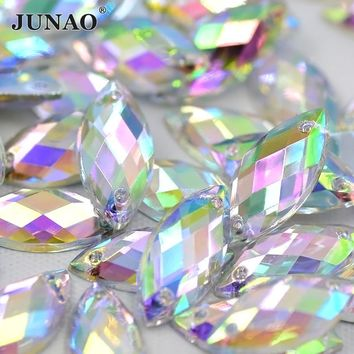 JUNAO 7*15mm Sewing Crystal AB Flatback Rhinestones Sew On Crystals Stones Horse Eye Acrylic Strass For DIY Clothes Crafts 500pc