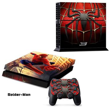 Spider-man Spider man Spiderman Decal Skin Sticker For Playstation 4 PS4 Console + 2Pcs Stickers For PS4 Controller
