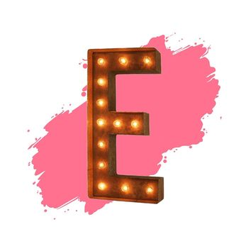 "18"" Letter E Lighted Vintage Marquee Letters (Modern Font/Rustic)"