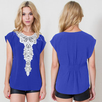 Batwing Short Sleeve Chiffon Top