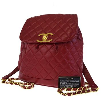 Authentic CHANEL CC Logos Quilted Chain Backpack Bag Leather Red Italy 613ED165