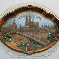 Vintage Koln a RH Cologne Germany Souvenir Metal Tray in Raised Relief