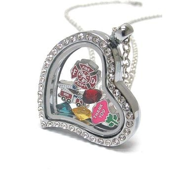 Heart Charm Locket Necklace for Firefighters