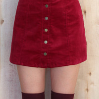 JACKIE VELVETEEN SKIRT IN WINE