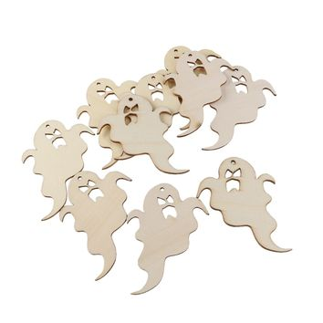 10pcs Wooden Embellishments Halloween Decoration Wrathful Ghost Pattern Pendant with Hemp Ropes