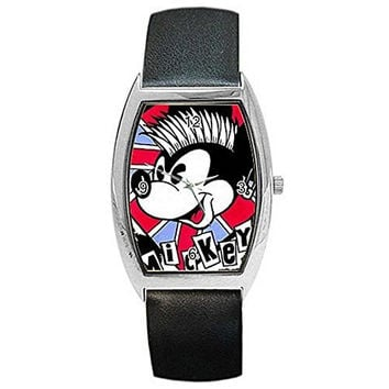 Mickey Mouse British Punk on Womens Barrel Watch with Leather Band