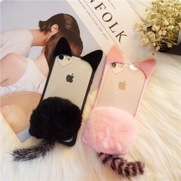Dower Me Super Cute Korea Fashion Style Furry Tail Cat Ear Real Rabbit Fur Ball Phone Case Cover For iPhone X 8 7 6 6S Plus