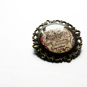 Edinburgh Old Map cameo pin brooch - Edinburgh pin - Edinburgh brooch - Edinburgh Jewelry - Wanderlust jewelry - Gift for travellers