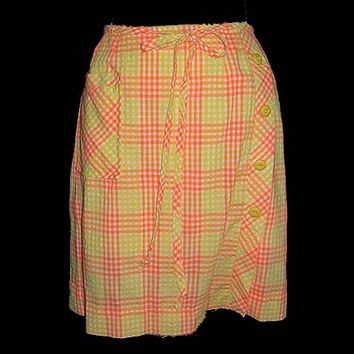 Mod Vintage Sherbert Plaid Mini Scooter Skirt Built in Shorts Button Detail