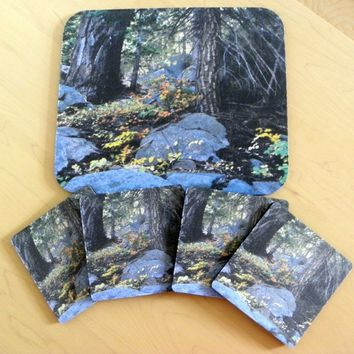 RUSTIC Wilderness Coaster Set: Dining/Office Decor by PonsArt $20.00+
