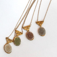 Filigree and Small Oval Druzy Pendant Necklace - White, Gray, Moss, Pink, Raisin and Peach