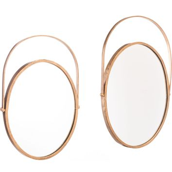 Gold Oval Wall Mirrors (Set of 2)