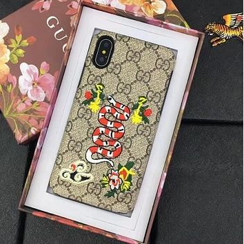 GUCCI Trending Stylish Embroidery Snake Flower Mobile Phone Case Shell For iPhone X I12702-3