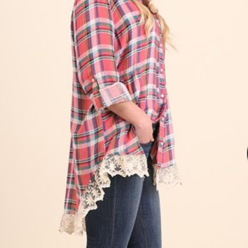 Umgee Red Plaid lace trim tunic