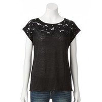 LC Lauren Conrad Lace Linen Top - Women's