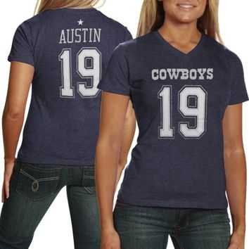 Miles Austin Dallas Cowboys Ladies Her Player Tri-Blend Slim Fit V-Neck T-Shirt - Navy Blue