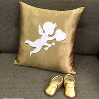 Baby Gift Set. Cupid Sending Love Matt Gold Decorative Nursery Pillow Cover. Gold Baby Shoes Booties Set. Baby Shower Gift. Nursery Cushion