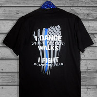 Police Officer Thin Blue Line Tattered American Flag Quote Two Toned Baseball, V-Neck or Scoop Neck T-Shirt