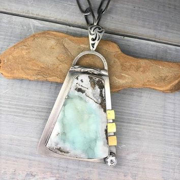 Hemimorphite, White Topaz Sterling Necklace & 22k Gold Necklace