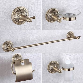 Bronze Liquid  Soap Dispenser ,Robe Hook,Soap Dish,Toilet Paper Holder 304 Stainless Steel and Copper Bathroom Accessories
