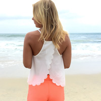 Summer Scallop Tank Blouse In White