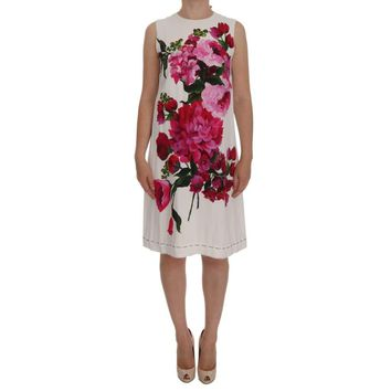 Dolce & Gabbana White Pink Floral Print Sheath Dress